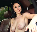 Adrianne Black strips off to show juggs whilst driving a car