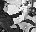 Jemstone taking gas mask girl out of her cage to dildo pound