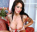 British babe Victoria Brown plays with her juggs and a dildo